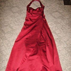 Burgundy Wine Halter Long Satin Prom Formal Dress